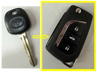 Αντιγραφή κλειδιού αυτοκινήτου και μετατροπή σε σπαστό με κουμπιά μάρκας Toyota Land Cruiser.